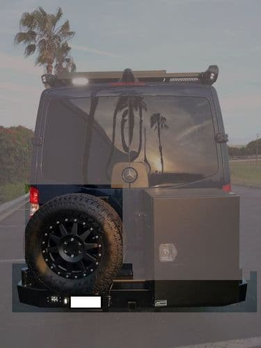 2007-2018  Sprinter Slimline Rear Bumper with Hitch and Bike Rack Swing Arm - Single Rear Wheel