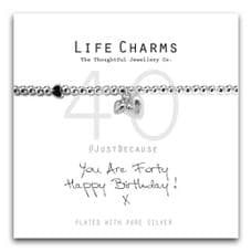"""Life Charms Bracelet - """" You Are FORTY, Happy Birthday! x """" - Beautifully Gift Boxed"""