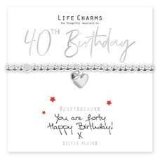 "Life Charms Bracelet - "" You Are FORTY, Happy Birthday! x "" - Beautifully Gift Boxed"
