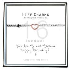 "Life Charms Bracelet - "" You Are SWEET SIXTEEN, Happy Birthday! x "" - Beautifully Gift Boxed"