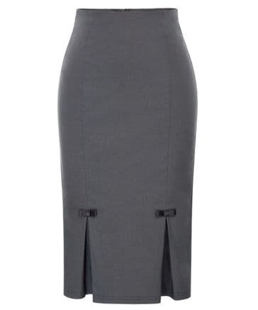Belle grey box pleat vintage 1950s style pencil skirt with stretch S to XXL