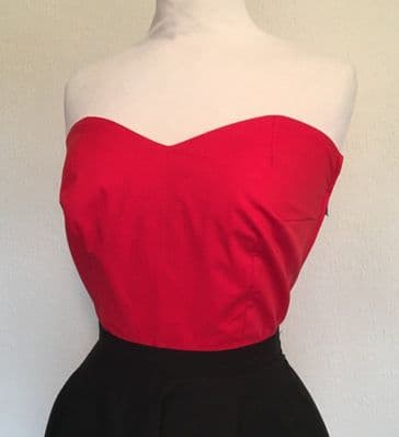 Bustier - Vintage 1950s inspired red cotton bustier sun top XXS to 3XL