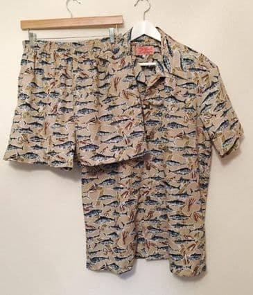 Cabana set SOLD OUT - vintage 1950s inspired fish print men's shorts and shirt set S M L
