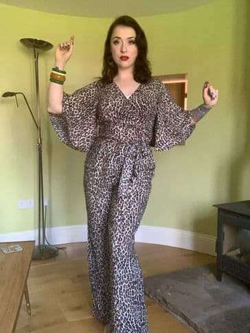 Glamour leopard vintage 1950s style casual palazzo pants XS to 2XL