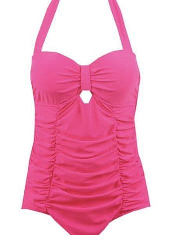 Keyhole hot pink vintage 1950s style swimsuit S to XXL