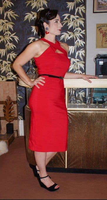 Lucille red Vintage 1950s style cocktail wiggle  with keyhole