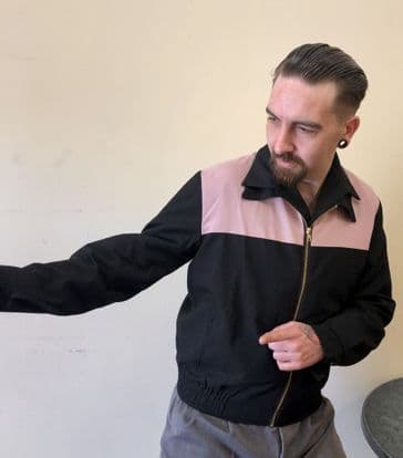 Men's 1950s vintage style Gab Jacket in classic pink and black
