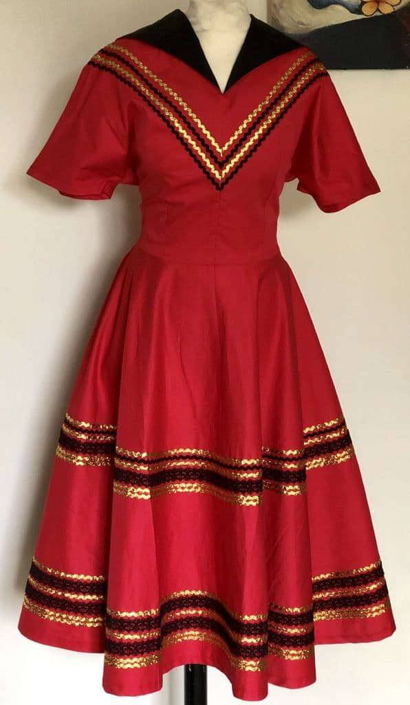 Patio dress vintage 1950s style Mexican full circle dress red gold and black XS to 3XL