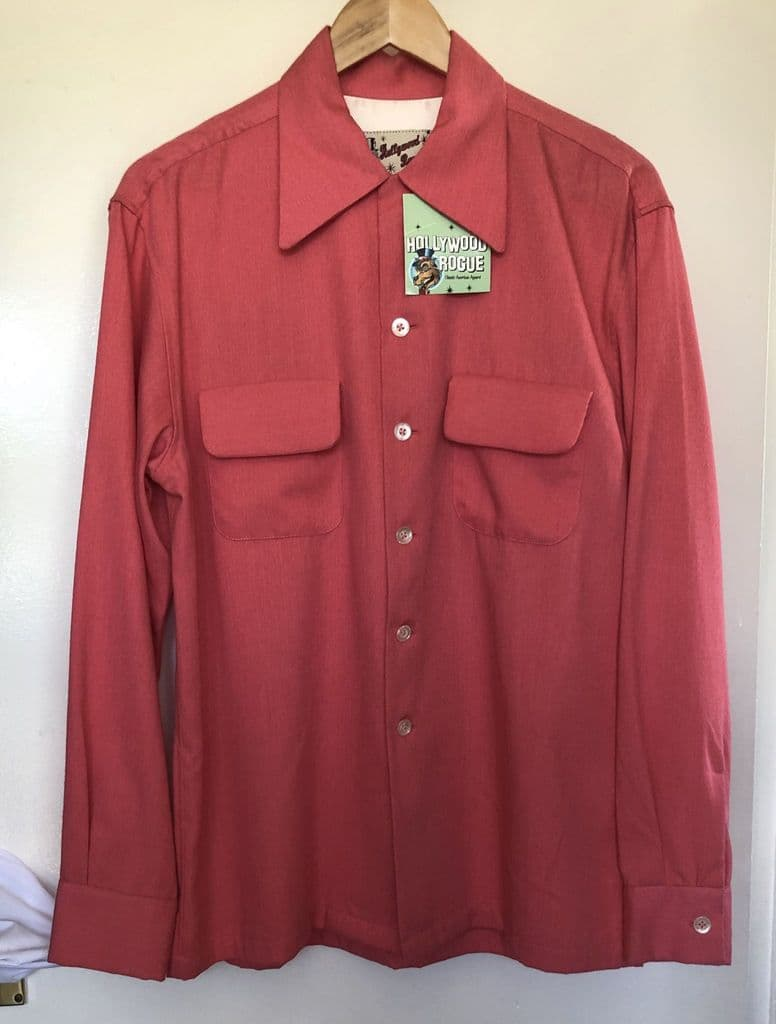 1950s vintage reproduction Hollywood Rogue rayon atomic print shirt made from original 1950s fabric Only one made