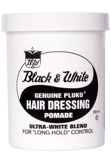 Pomade Black and White strong hair dressing
