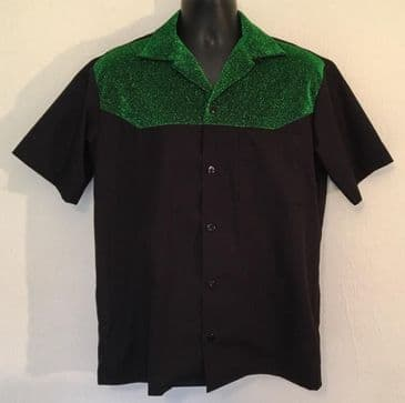Two tone Men's shirt black with green lurex contrast short sleeve shirt Size S M L