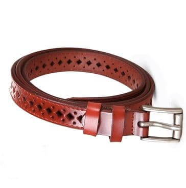 Vintage 1950s style narrow  red leather diamond cut belt