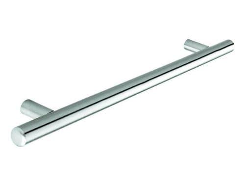Bar handle, 12mm diameter, 337mm long, steel, stainless steel effect  - H80