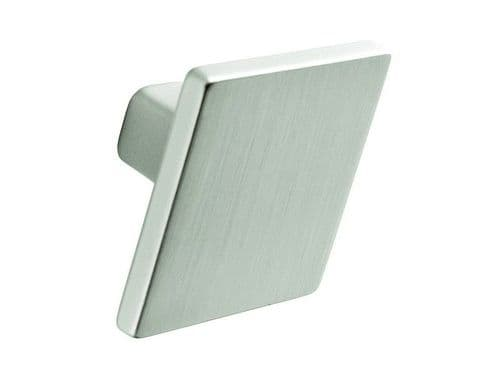 Knob, square, 35mm, stainless steel effect  - H36