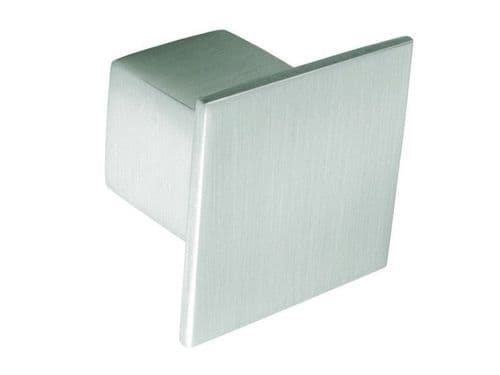 Knob square, 36mm, die cast, stainless steel effect  - H35