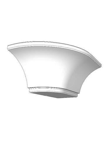 Mornington Beaded Porcelain Cornice corner block, right hand, 133x108x72mm