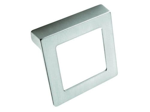 Square handle, 32mm, die cast, brushed steel effect  - H37