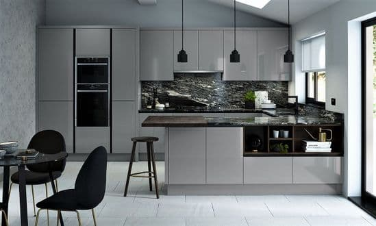 True Handleless Gloss Dust Grey Kitchens
