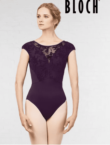 Bloch Cosmo Ladies Floral Mesh Open Back Cap Sleeved Leotard