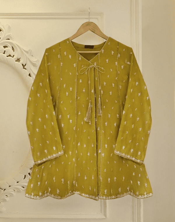 Agha Noor Olive Green Angrakha Outfit