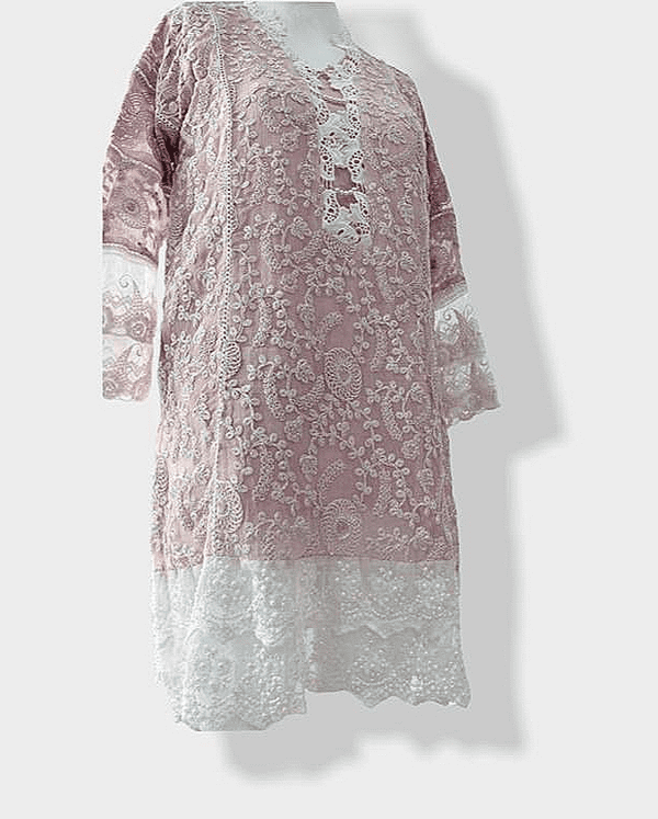Agha Noor Pink Chiffon Lace Outfit - 2 Pc