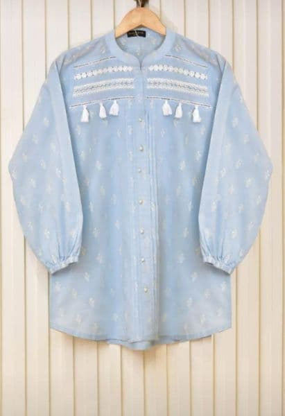 Agha Noor Sky Blue Lawn Embroidered Top