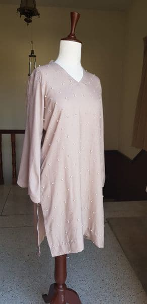 Beige Pashmina Kurta With Scattered Pearls