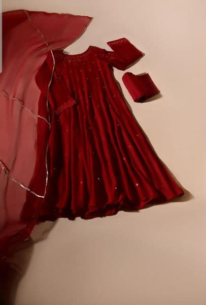 FORMALS - AITA CHERRY - Agha Noor Red Outfit - 3 Piece