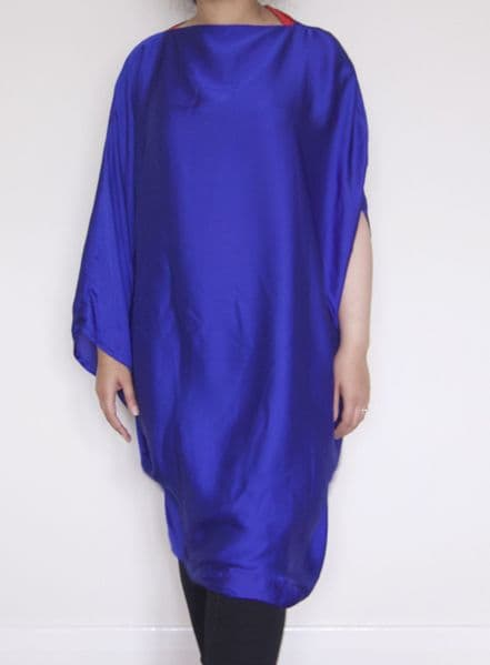 Royal Blue Silk Kaftan Cape - Free Size