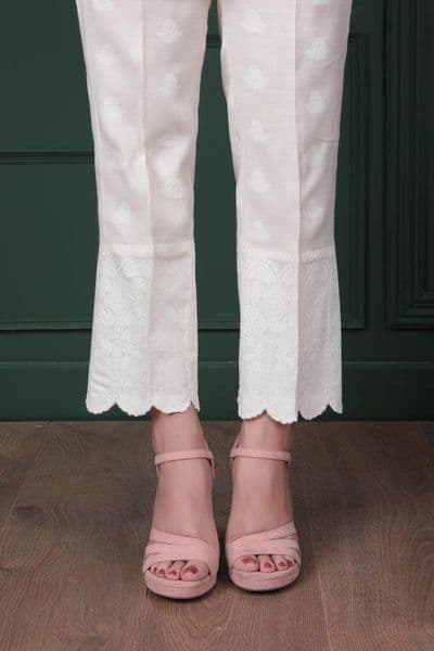 Sapphire - White Paste Pencil Trousers