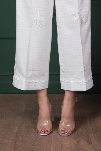Sapphire - Wogel White Embroidered Culottes