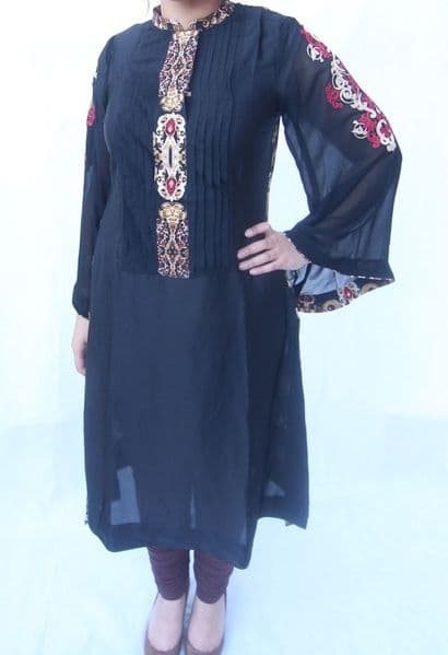 Silk Black & Red Gem Embroidered Kurta - S/M