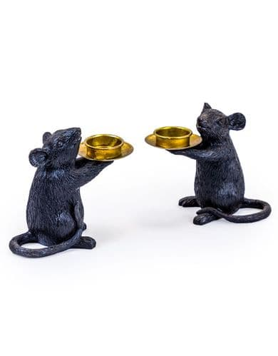 Pair of Black Mice Candle Stick Holders