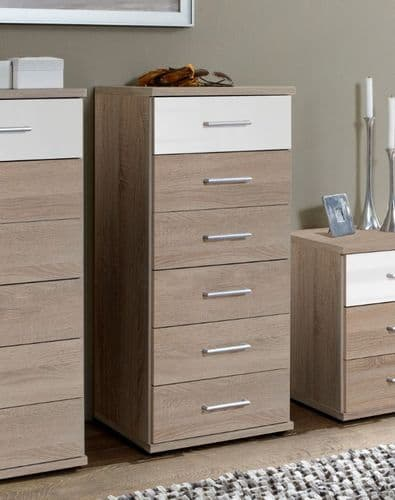 Anzo White Gloss And Oak Effect Narrow Chest Of Drawers - 2972