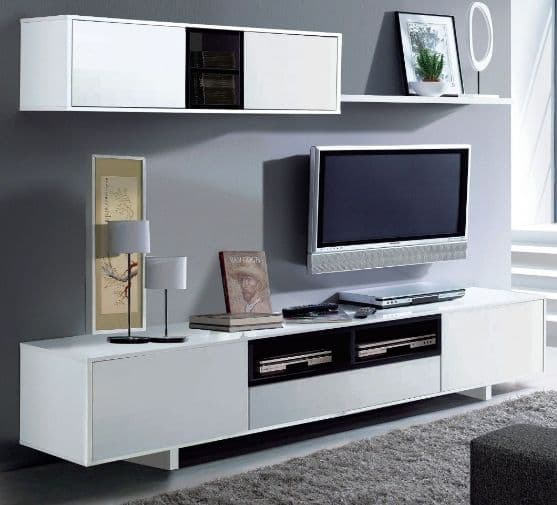 Belas White Gloss TV Complete Wall Cabinet - 2458