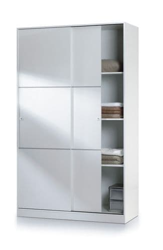 Madrid Sliding Door Wardrobe 120cm Gloss White - 2461