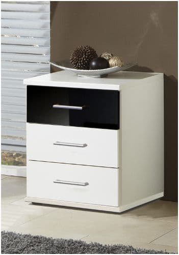 Milano Black and White Bedside Chest Of Drawers - 2293