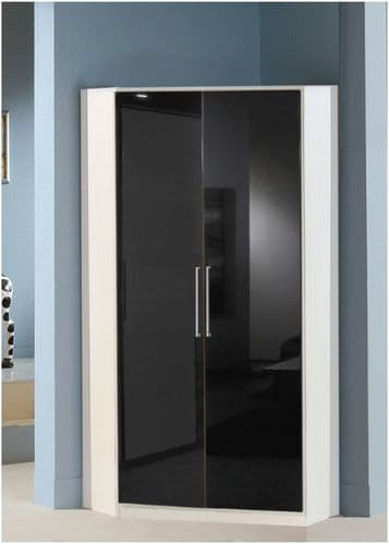 Milano Black Gloss and White 2 Door Corner Wardrobe - 2290