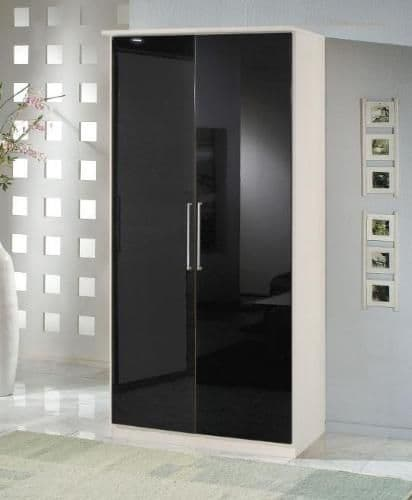 Milano Black Gloss & White 2 Door Wardrobe - 2285
