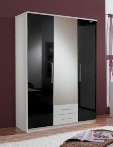 Milano Black Gloss & White 3D 2Drw Wardrobe - 2287