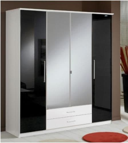 Milano Black Gloss & White 4D 2Drw Wardrobe - 2289