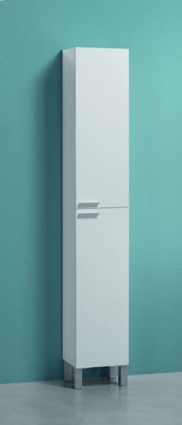 Milano Tall Narrow Bathroom Cupboard White Gloss - 2480