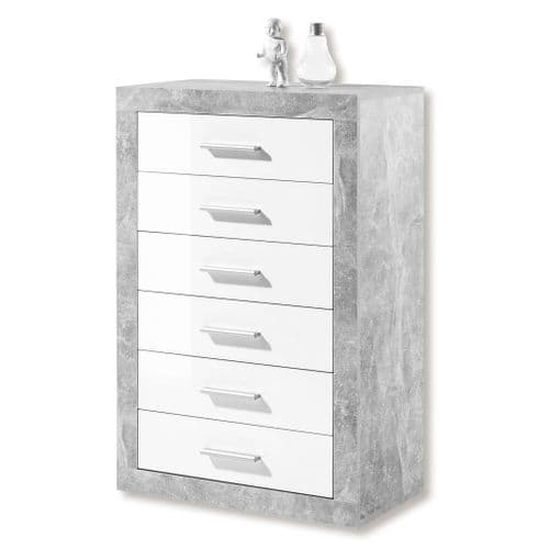 Pietra Tallboy Chest of Drawers Grey and White Gloss 6 DRW - 2705