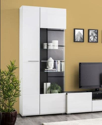 Royce White Tall Display Cabinet - 3060
