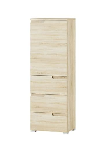 Santino Sonoma Oak Slim Tallboy Storage Unit with Cupboard and Drawers S11 - 2979