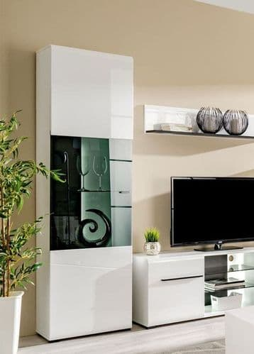 Terrento White Tall Display Cabinet - 3054