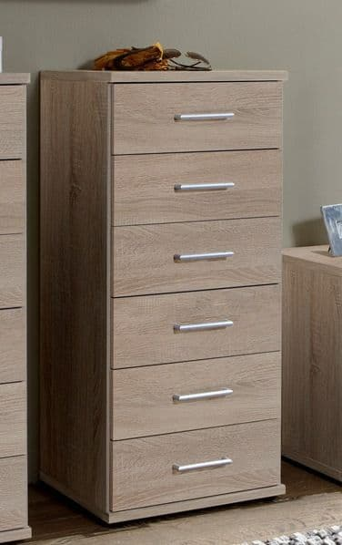 Venice Oak Effect Narrow Chest Of Drawers - 2372