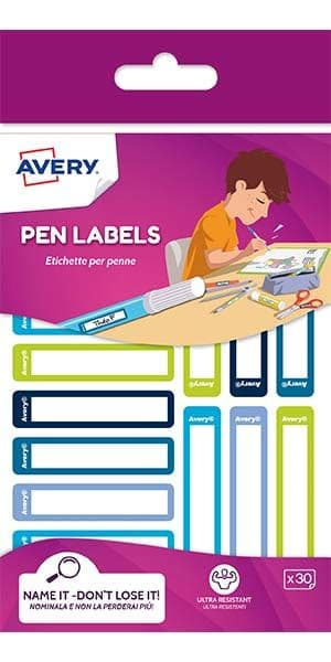 Pen/Stationery Labels - Green/Blue