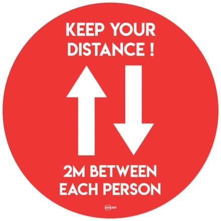 Social Distance Circular Floor Stickers Red/White - COVFSR420