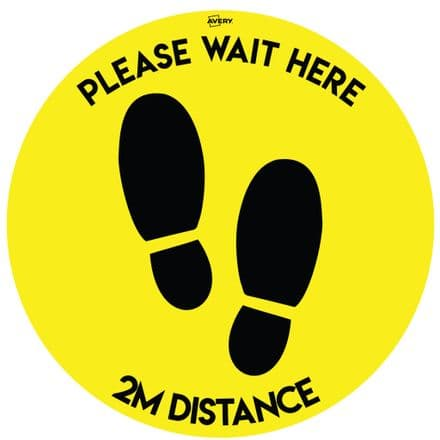 Social Distance Circular Floor Stickers Yellow/Black  -  COVFSYB420